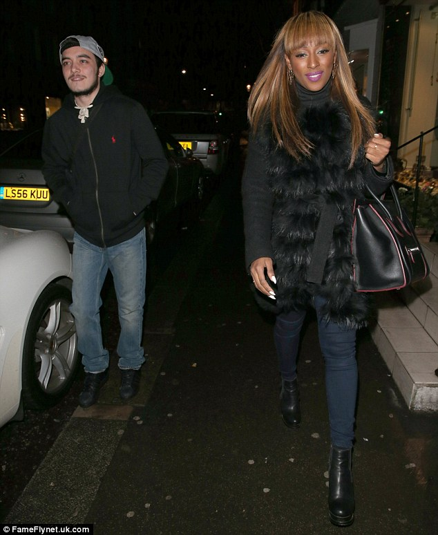 Dinner for two? Alexandra and her mystery man headed out for a pizza in Knightsbridge on Monday night