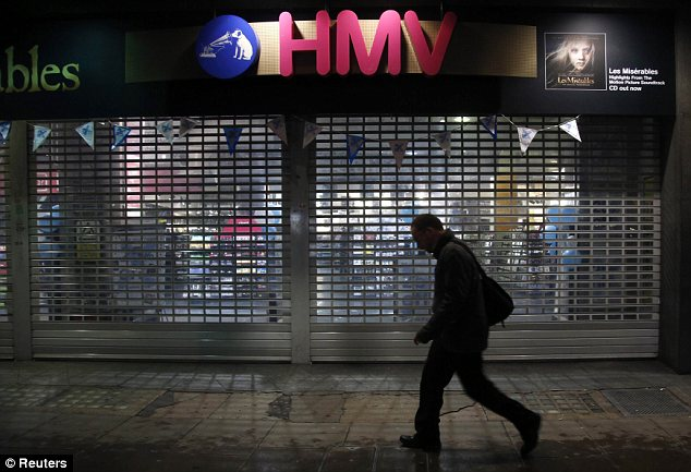 Threatened: HMV could be forced to close its shops and lay off 4,000 staff after going into administration