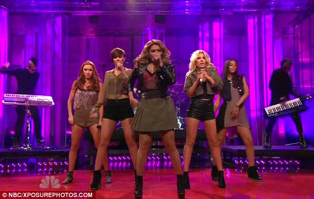 Making it: The Saturdays performed their new single on The Tonight Show On Jay Leno on Monday evening