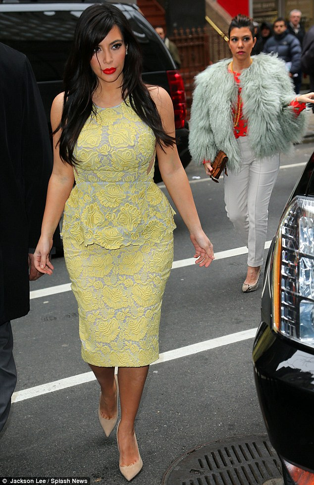 Sister act: Kim was joined by Kourtney at the interview