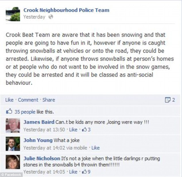 Not a joke: Crook Neighbourhood Police Team publised on its Facebook page that children would be arrested if they were caught throwing snowballs