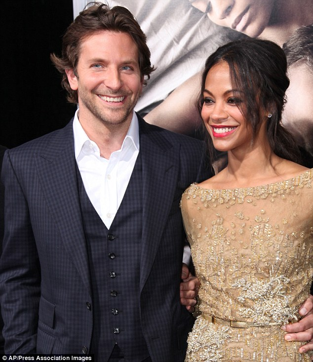 On and off screen: Bradley and Zoe smile at the premiere of The Words, the movie where the fell in love