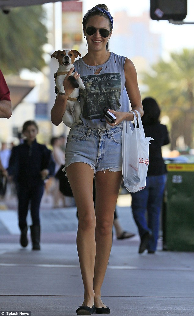 Candice Swanepoel Rocks Out Iron Maiden T Shirt And