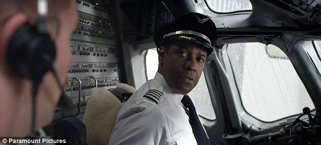 Troubled: Denzel plays alcoholic airline pilot Whip Whitaker in Flight