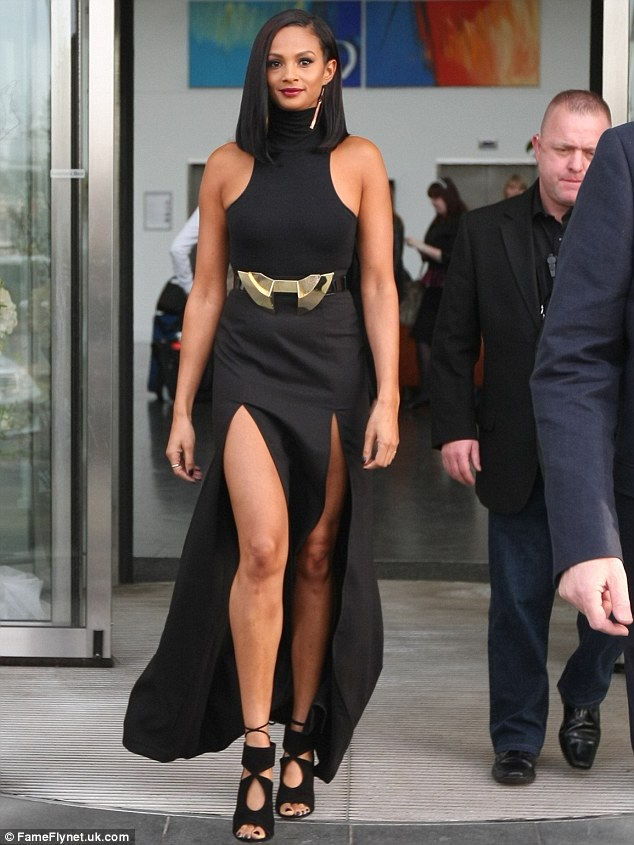 The thigh's the limit! Alesha Dixon made sure she made an impact as she arrived at the Britain's Got Talent auditions in a daring thigh-slashed dress