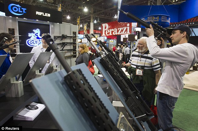 Timing: The executive orders were signed at the same time that gun enthusiasts began stocking up on the latest guns- many parts of which will be banned if passed- at the SHOT Show in Las Vegas