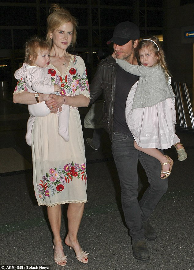 Happy life: Now Married to Keith Urban, with whom she shares two children, Sunday Rose and Faith Margaret, the couple have opted to stay out of the limelight in Hollywood and continue to reside in Nashville, Tennessee