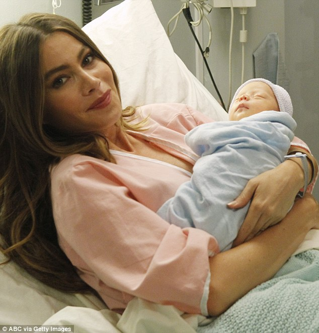 New arrival: Sofia Vergara's character Gloria gave birth to a newborn baby boy in a dramatic episode of Modern Family which aired in the U.S. on Wednesday night