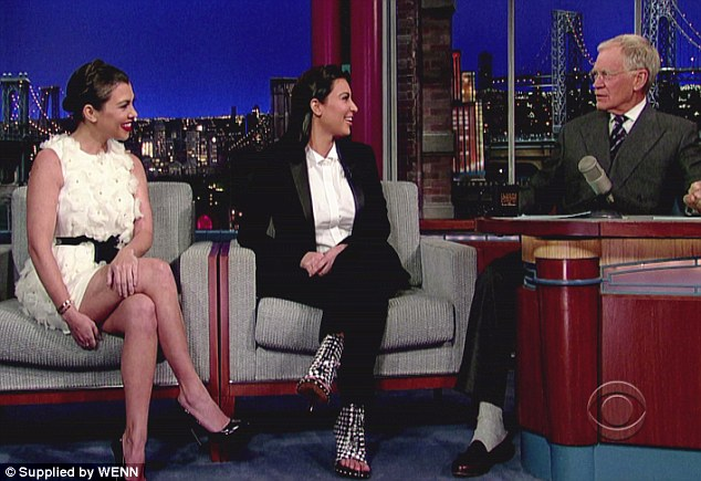 Enjoying themselves: Despite the difficult subjects, the girls had fun talking to Letterman
