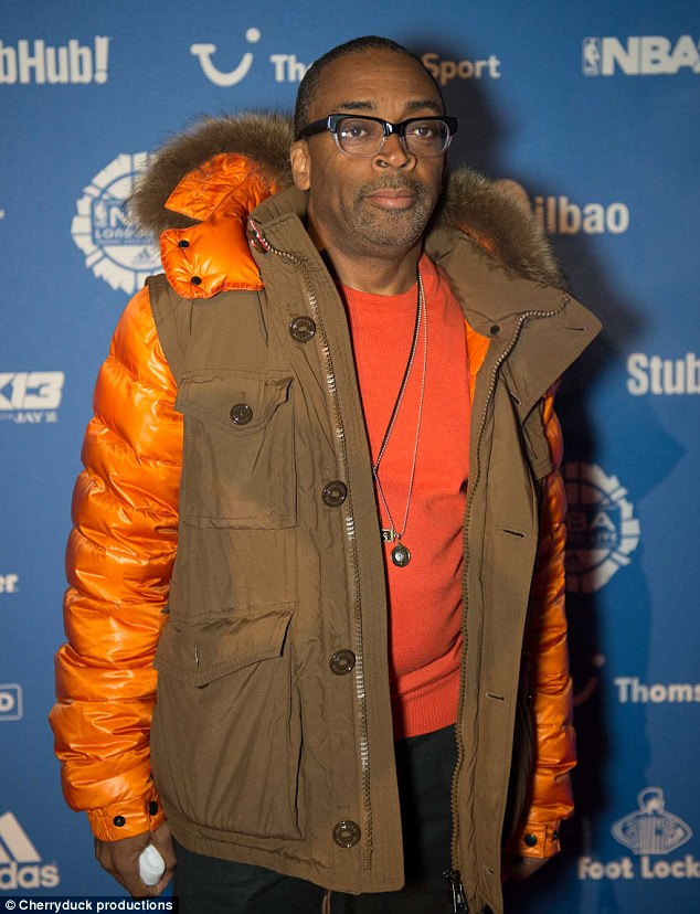 Orange is the colour: Spike Lee also caught some of the game on Wednesday evening