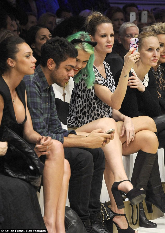 Fun on the runway: The trio sat front row at the Basler fashion show last night