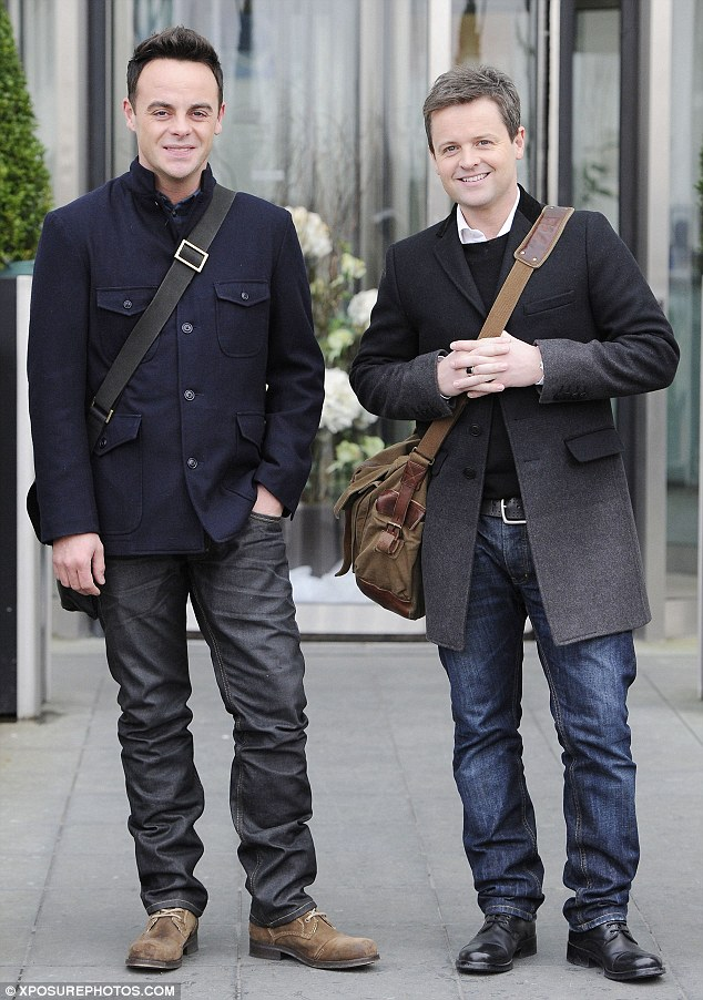 Double trouble: Britain's Got Talent presenters Ant and Dec chose layers and matching satchels for their second day in Cardiff