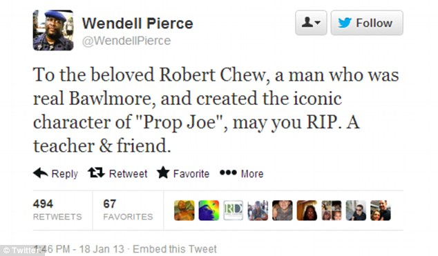 Grieving friend: The Wire and Treme star Wendell Pierce called the 'beloved' Robert Chew a teacher and friend who created an iconic role