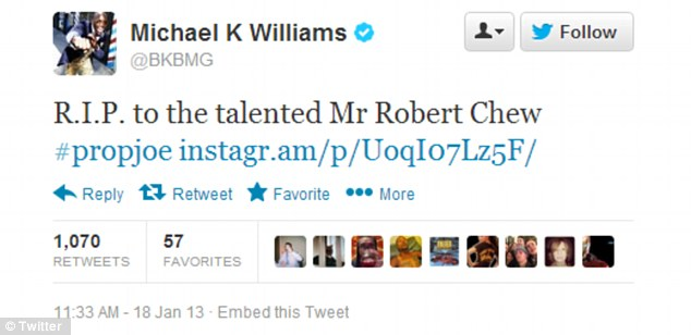 Tribute: Actor Michael K. Williams, who portrayed Omar Little on The Wire, tweeted about Chew's passing