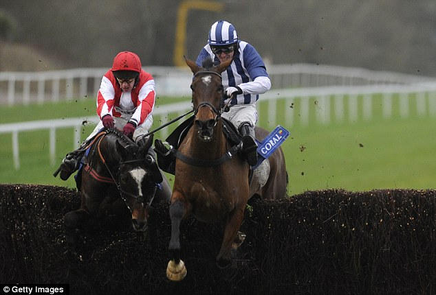Over the last: Paul Carberry and Monbeg Dude (left) still had ground to make up onTeaforthree and Tony McCoy