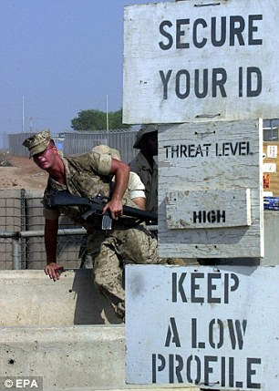A US Marine at Camp Lemonnier in Djibouti City. Mr Hashi claims US interrogators persuaded him to sign a confession