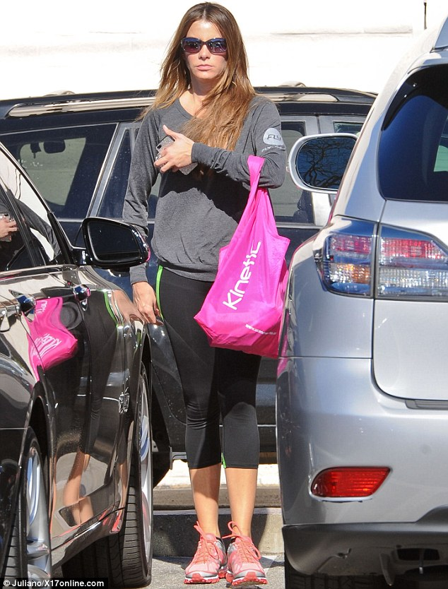 Fighting fit: Modern Family star Sofia Vergara was spotted heading to the gym in Los Angeles on Saturday