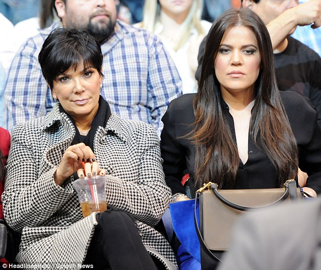 So miserable: Khloe Kardashian and her mother Kris Jenner looked awfully glum at the LA Clippers game on Saturday night