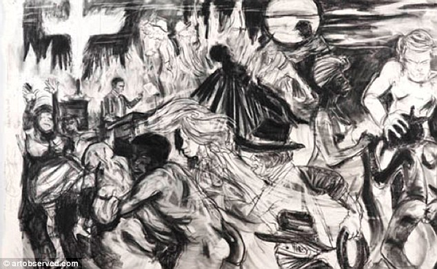 Controversial: The drawing shows the horrors many blacks faced after the Civil War and during reconstruction and includes a depiction of a slave performing oral sex