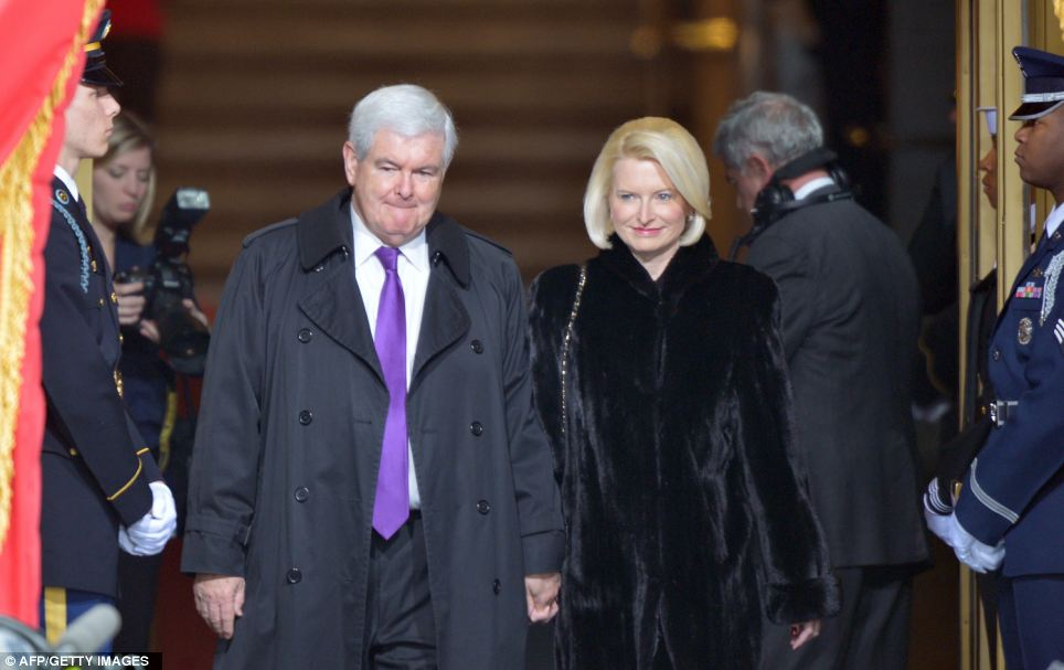 Offering support: Former Republican presidential candidate Newt Gingrich and his wife Callista arrive for the 57th Presidential Inauguration