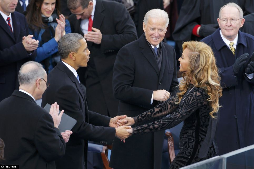 Thankful: Singer and Obama supporter Beyonce is greeted by the president after her performance