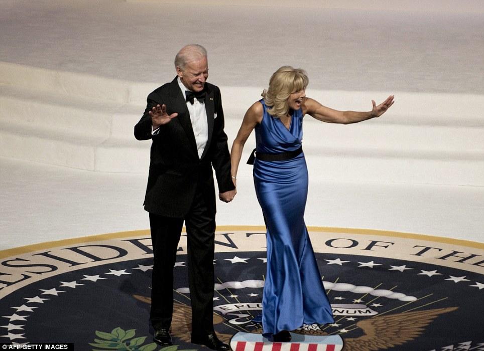 Stunning: Jill Biden looked fabulous in a blue silk creation by Vera Wang alongside a dapper VP Joe
