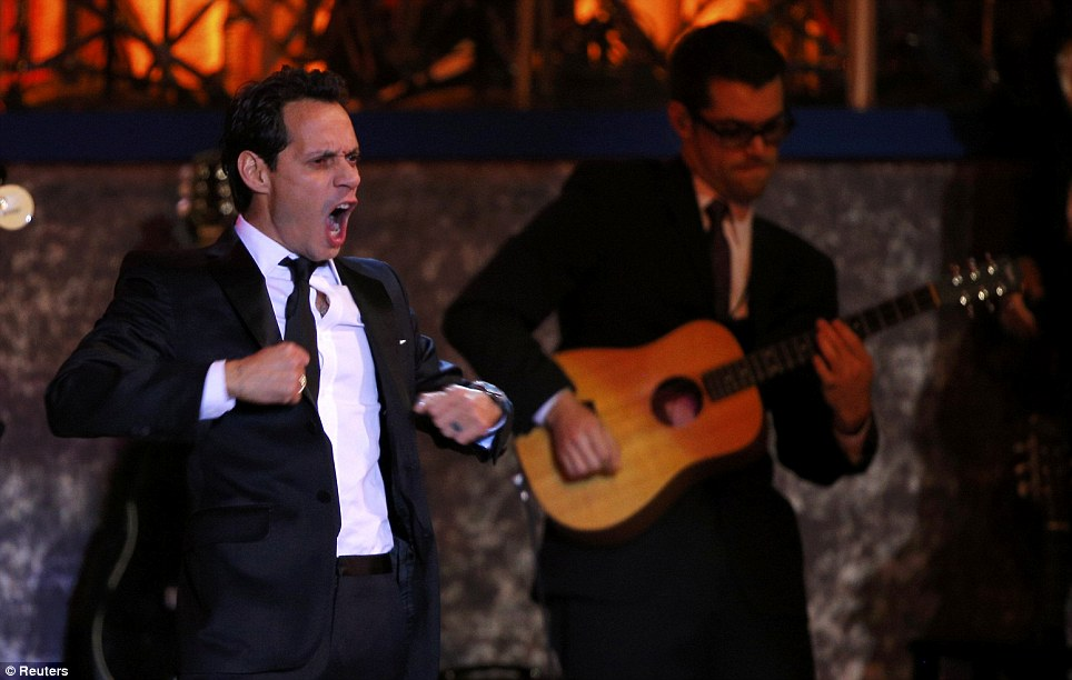 Fiery performance: Marc Anthony struts his stuff as he performs at the Commander-in-Chief's ball in Washington