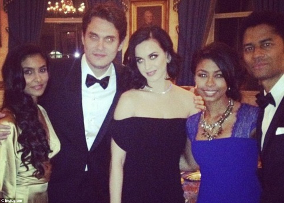 Guest list: India and Eric Benet, right, are pictured with John Mayer and Katy Perry at the White House afterparty