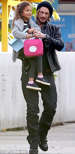 No boys allowed: Olivier Martinez (pictured left) and Nahla's father Gabriel Aubry were absent from the day out
