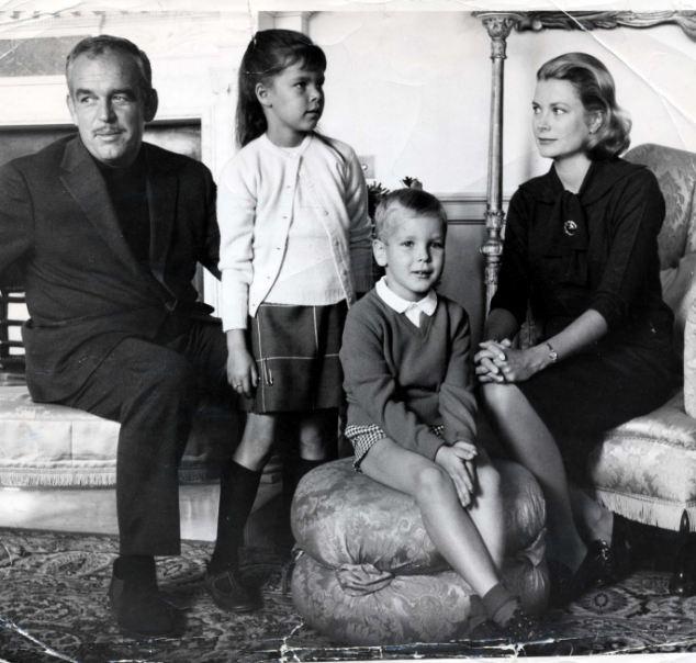 Princess Grace of Monaco, actress Grace Kelly, with her family Prince Rainier, Princess Caroline and Prince Albert