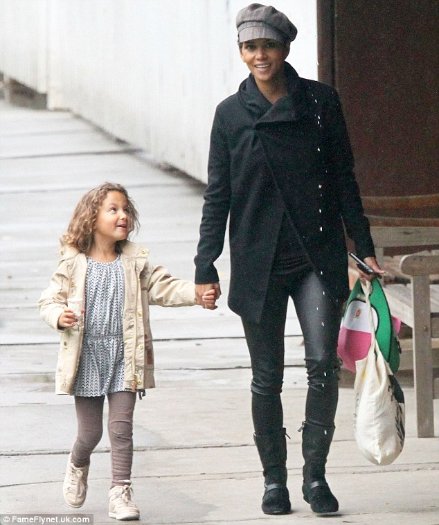 Her new style staple: Halle Berry reprised her Catwoman look by donning leather trousers for an outing with daughter Nahla in Los Angeles on Friday
