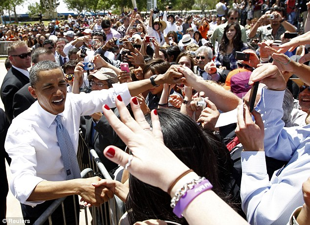 Obama greeted supporters after delivering remarks on immigration reform at Chamizal National Memorial Park in El Paso, Texas, on May 10, 2011