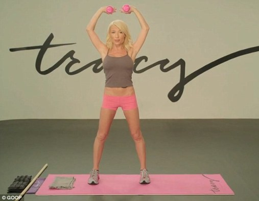 Long and lean: In a 15-minute workout video posted on Gwyneth Paltrow's lifestyle website, Goop, Tracy Anderson shows how to tackle bulky 'problem areas,' which exercises like running can exacerbate, she says