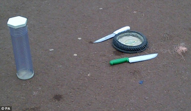 Left behind: Knives, a hat and taser wire in an cordoned off area outside Buckingham Palace in central London