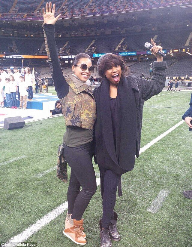 Getting ready for the big occasion: Alicia Keys and Jennifer Hudson posed for a photograph together at rehearsals on Saturday