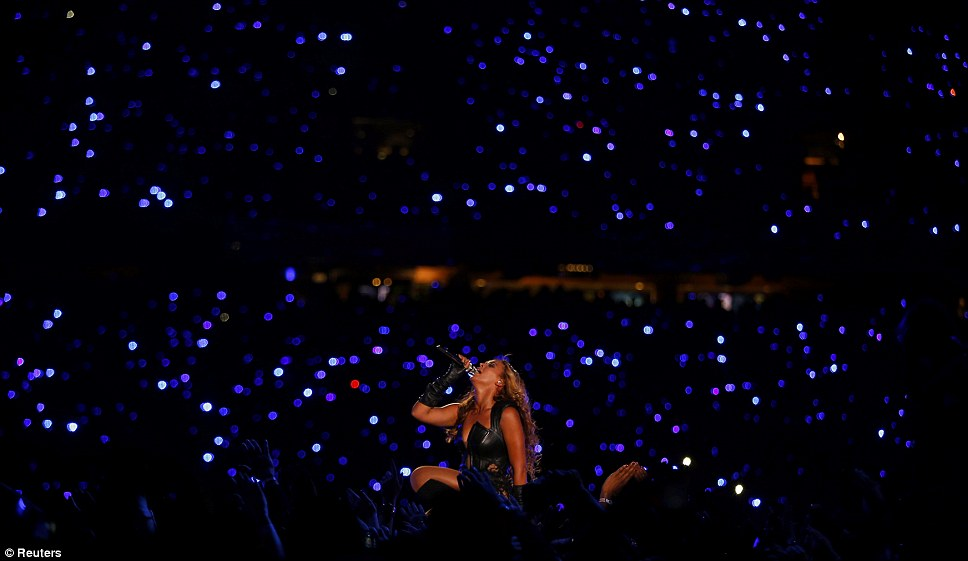 The night of a thousand stars: Beyonce's performance came after Alicia Keys and Jennifer Hudson sang before kick off