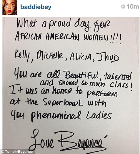 Tribute: Beyonce posted a note on her Tumblr page saying how proud she is of her fellow Super Bowl performers