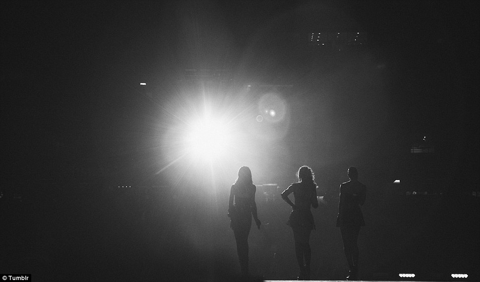 Stage with a view: One striking photograph on the singer's Tumblr showed the Destiny's Child trio looking out at the vast crowd