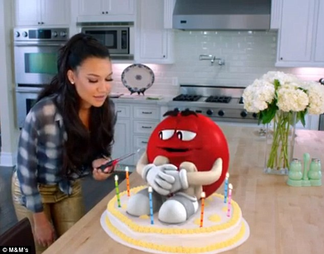 How much do you love me? Naya tests the red candy's affection during the side-splitting ad