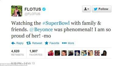 High praise indeed: Michelle Obama said that Beyoncé's performance was 'phenomenal'