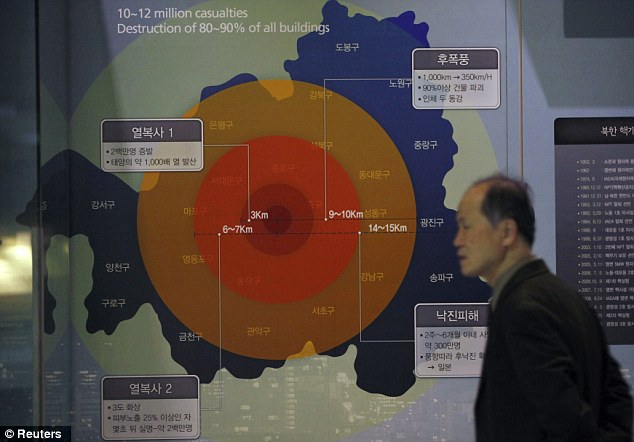Threat to world peace? A man walks past a display illustrating the damage a 1MT class nuclear weapon would cause if detonated in Seoul, at the War Memorial Museum of Korea in Seoul on February 5
