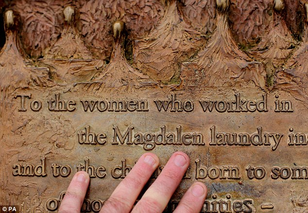 A plaque dedicated to Magdalane Laundry survivors in St Stephens Green in Dublin. Between 1992 and 1996 an estimated 10,000 young Irish girls were sent to the laundries where they were were forced to work without pay
