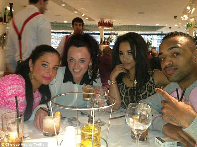 In good company: Tulisa and Chelsee were joined at the dining table by Aaron Evers and Michelle McKenna of dance trio Platnum