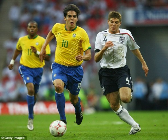 Star man: Kaka was outstanding for Brazil at Wembley in 2007