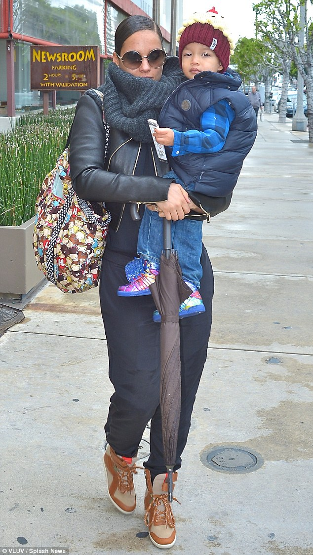 All bundled up: Alicia Keys looked stylish as she took her two-year-old son Egypt with her to breakfast on Friday at Newsroom Cafe in LA.