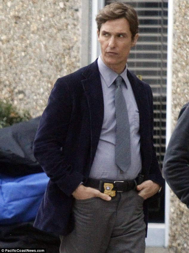 Paunching above his weight: Matthew McConaughey showed off his new look belly on a movie set in New Orleans on Friday