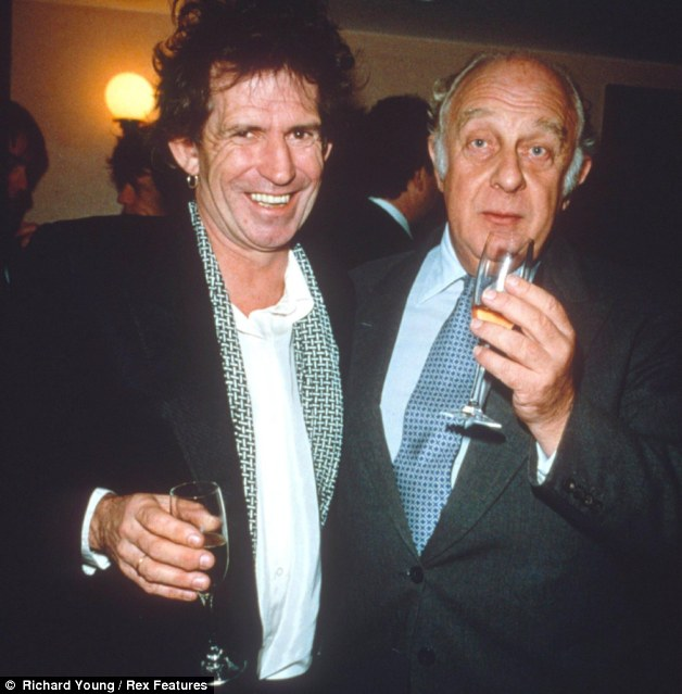 Rock n' roll banker: Prince Rupert Loewenstein, pictured in 1991 with Keith Richards, has written a book about his years as the Stones' financial manager which has Mick Jagger fuming