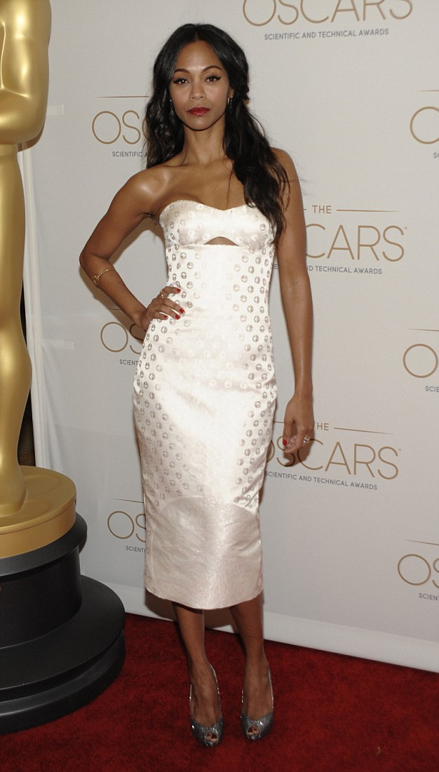 White hot maiden: Zoe Saldana looked gorgeous as she hosted the technical and scientific Oscars on Saturday night at the Beverly Hills Hotel in Los Angeles