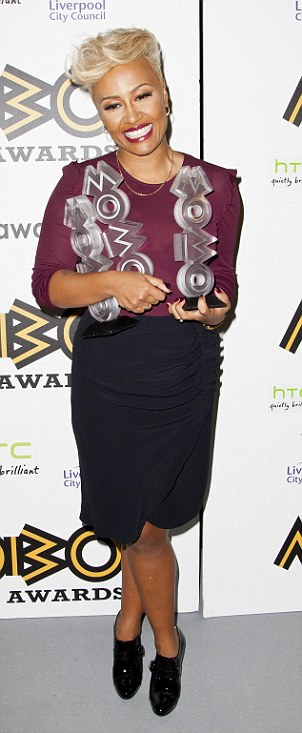 Dramatic weight loss: Singer Emeli Sandé cuts a slimmer figure on the red carpet at the pre-Grammy party on Saturday night, and seen right at the MOBO Awards last November
