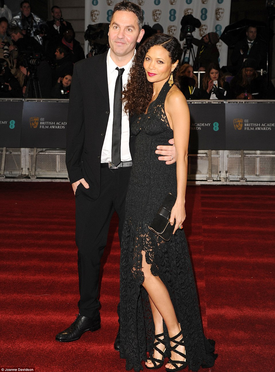 Red carpet date: Thandie was accompanied by husband Ol Parker on the red carpet